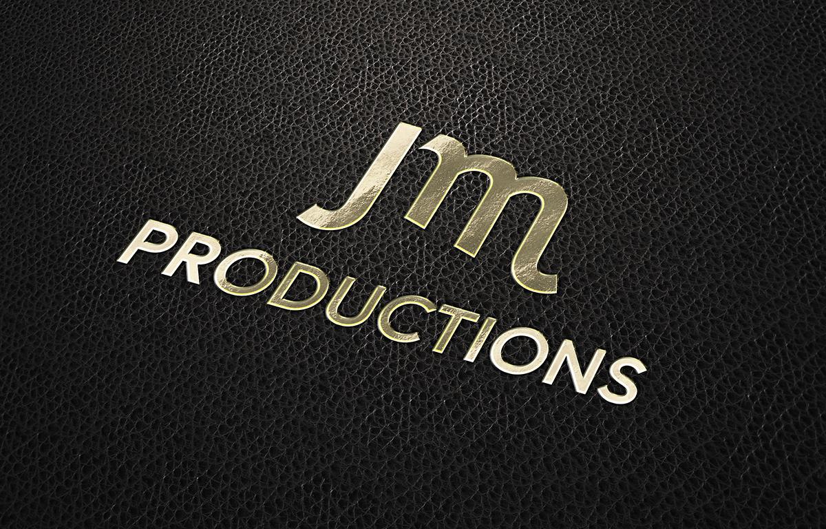JM Productions logo mockup on black leather