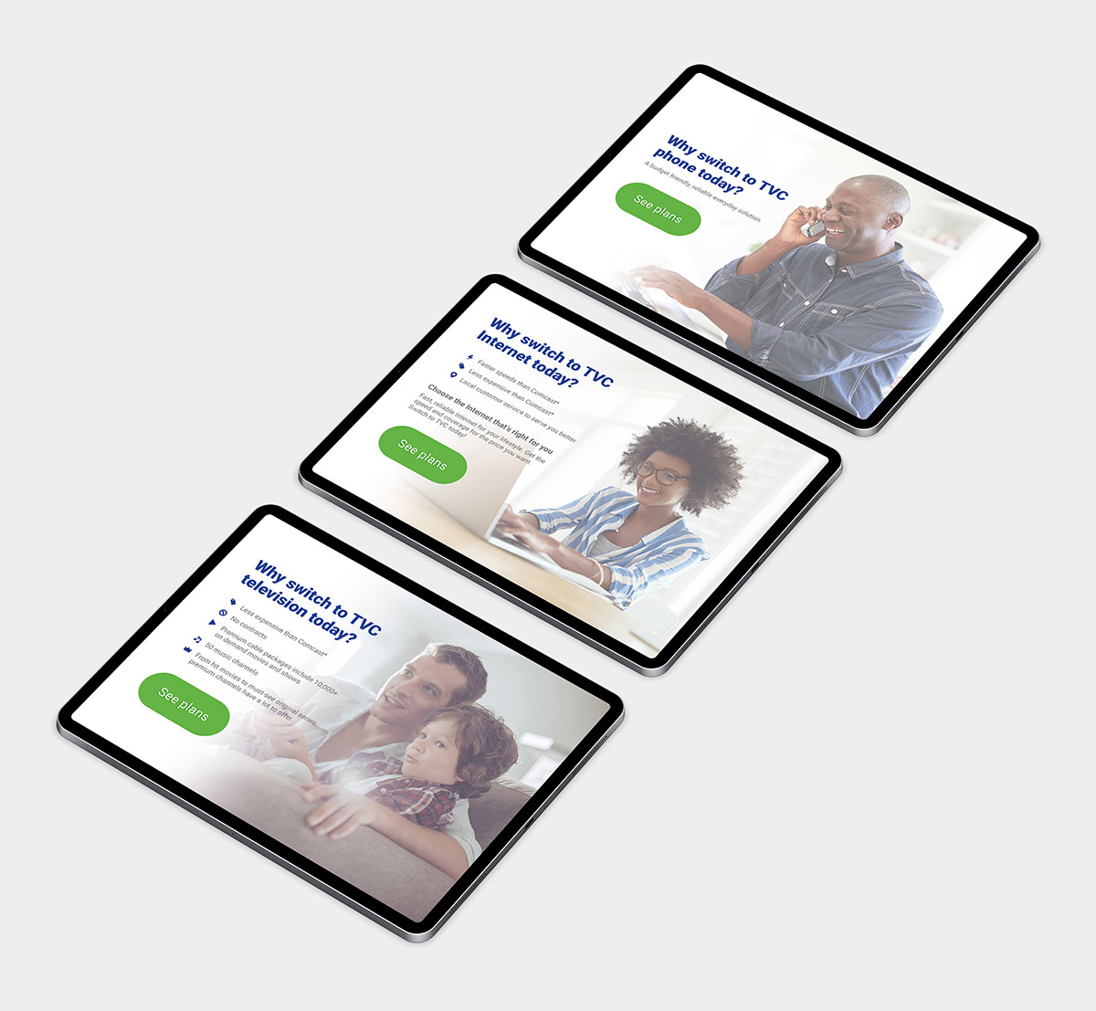Landing page design on three tablets