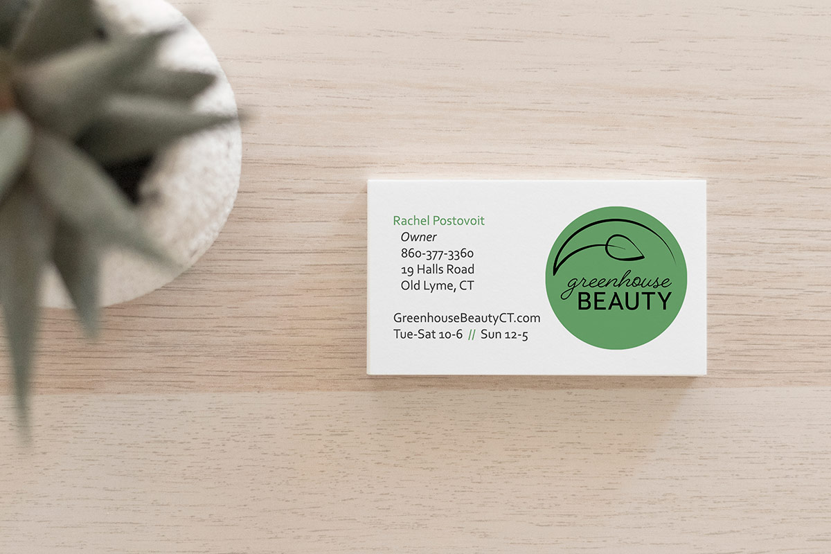 Greenhouse Beauty business card with logo