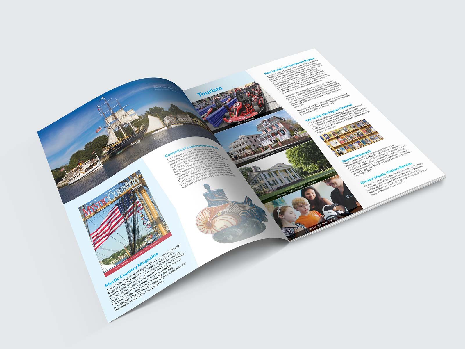 Magazine spread with tourism design