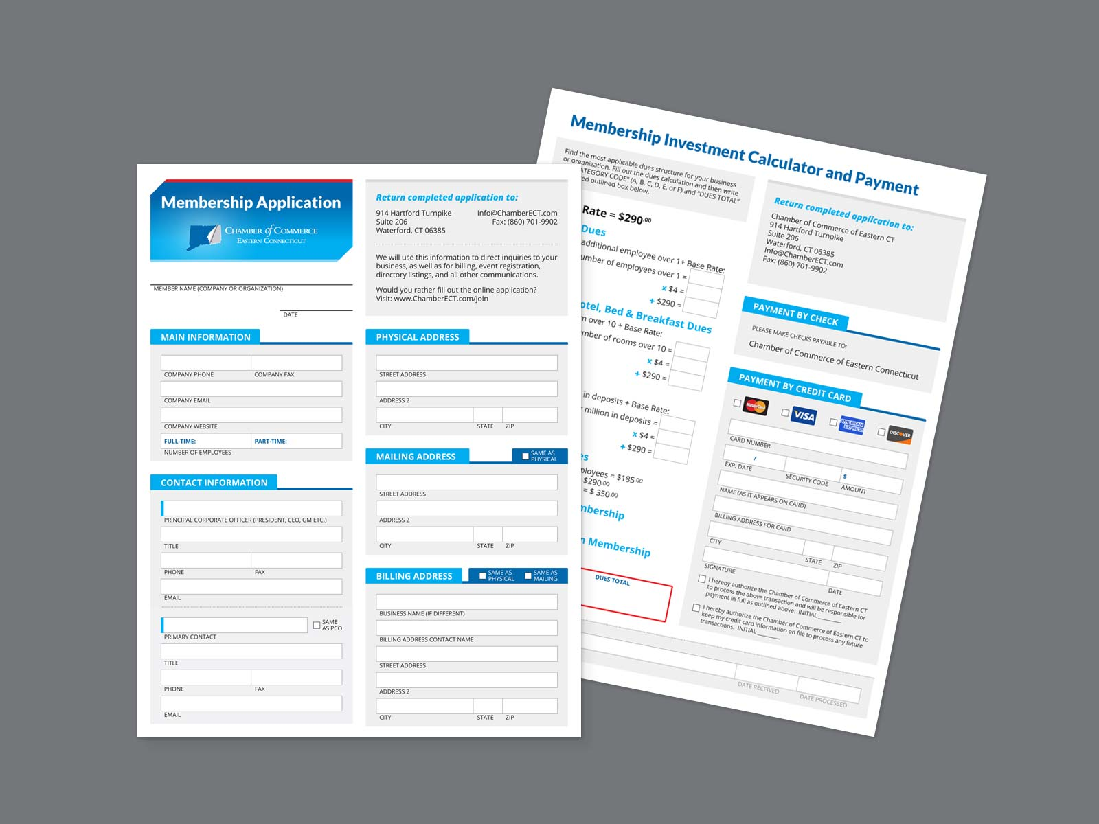 Membership application front and back design