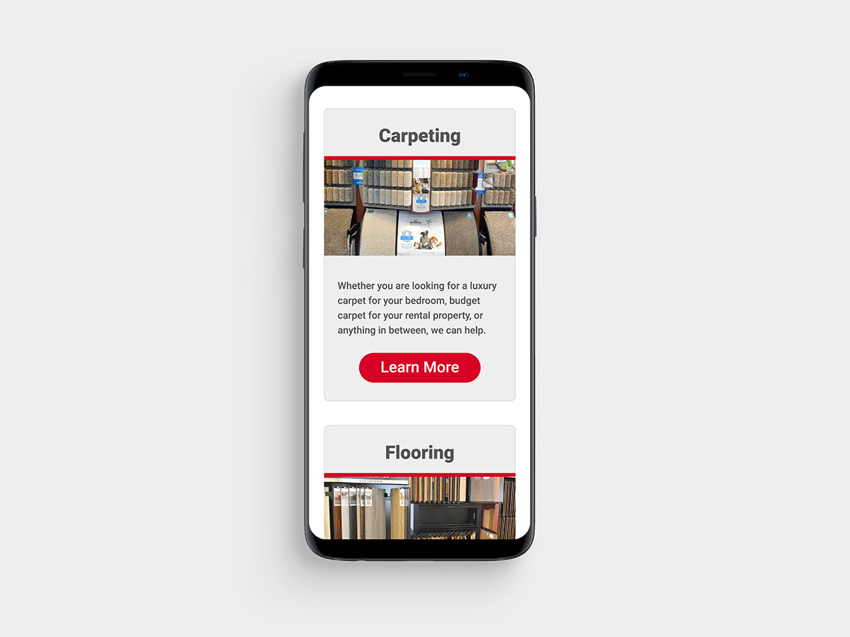 Jeff's Carpets website on mobile