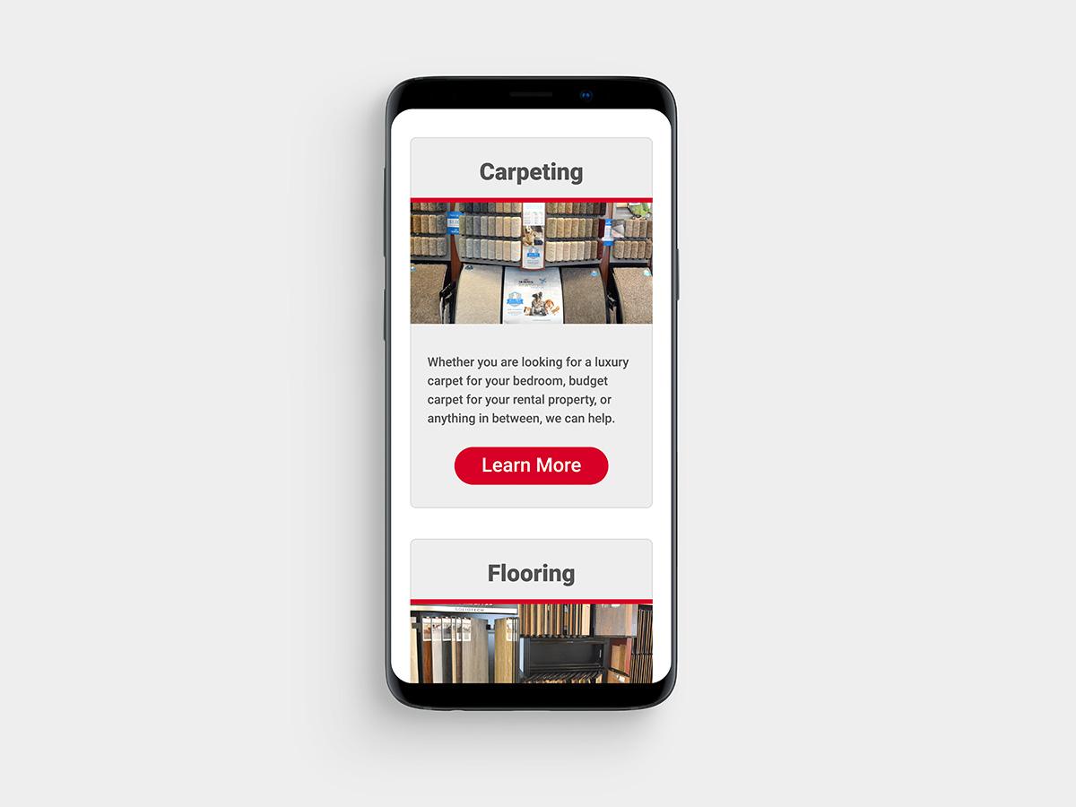 Jeff's Carpets website on mobile